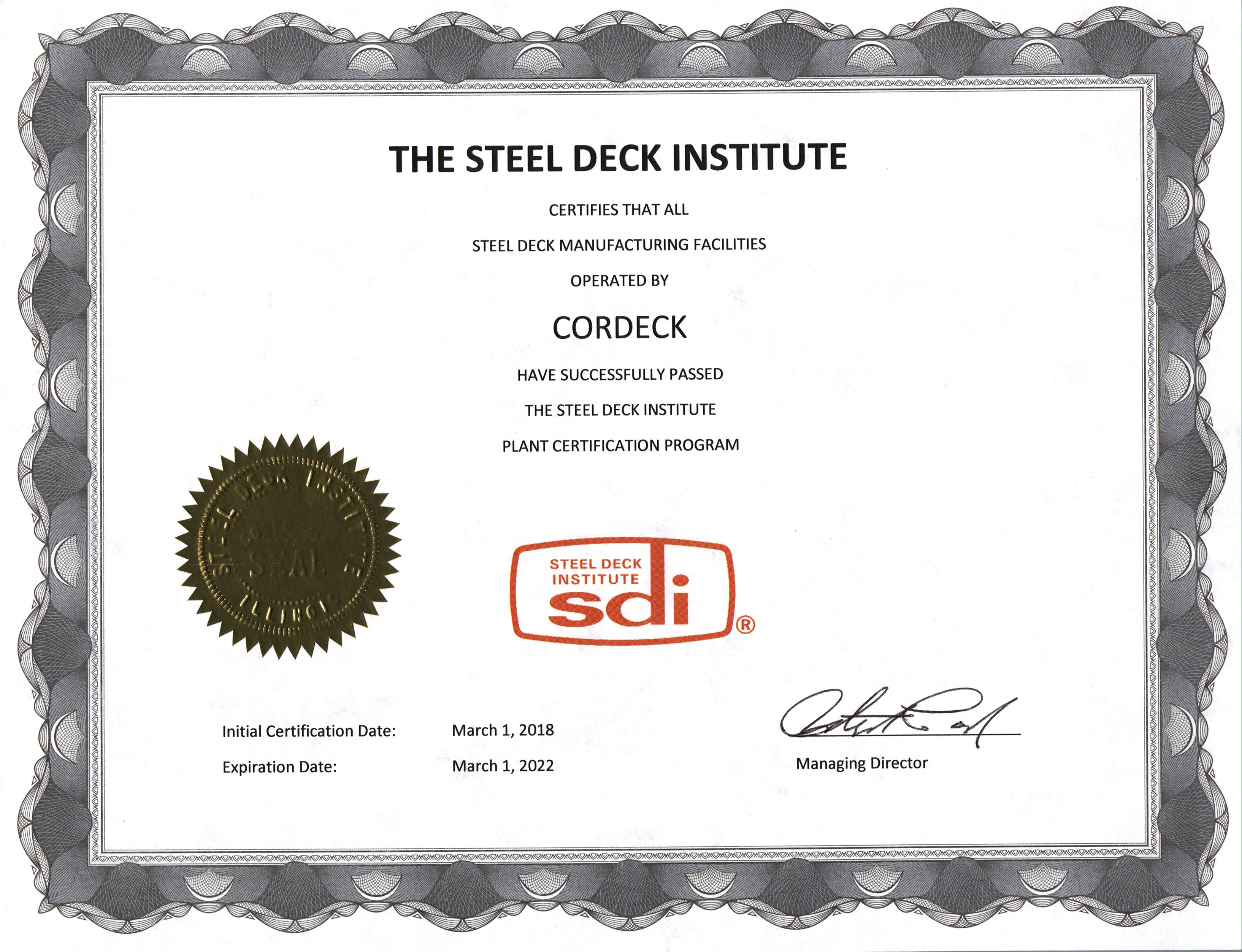 Cordeck SDI Certificate