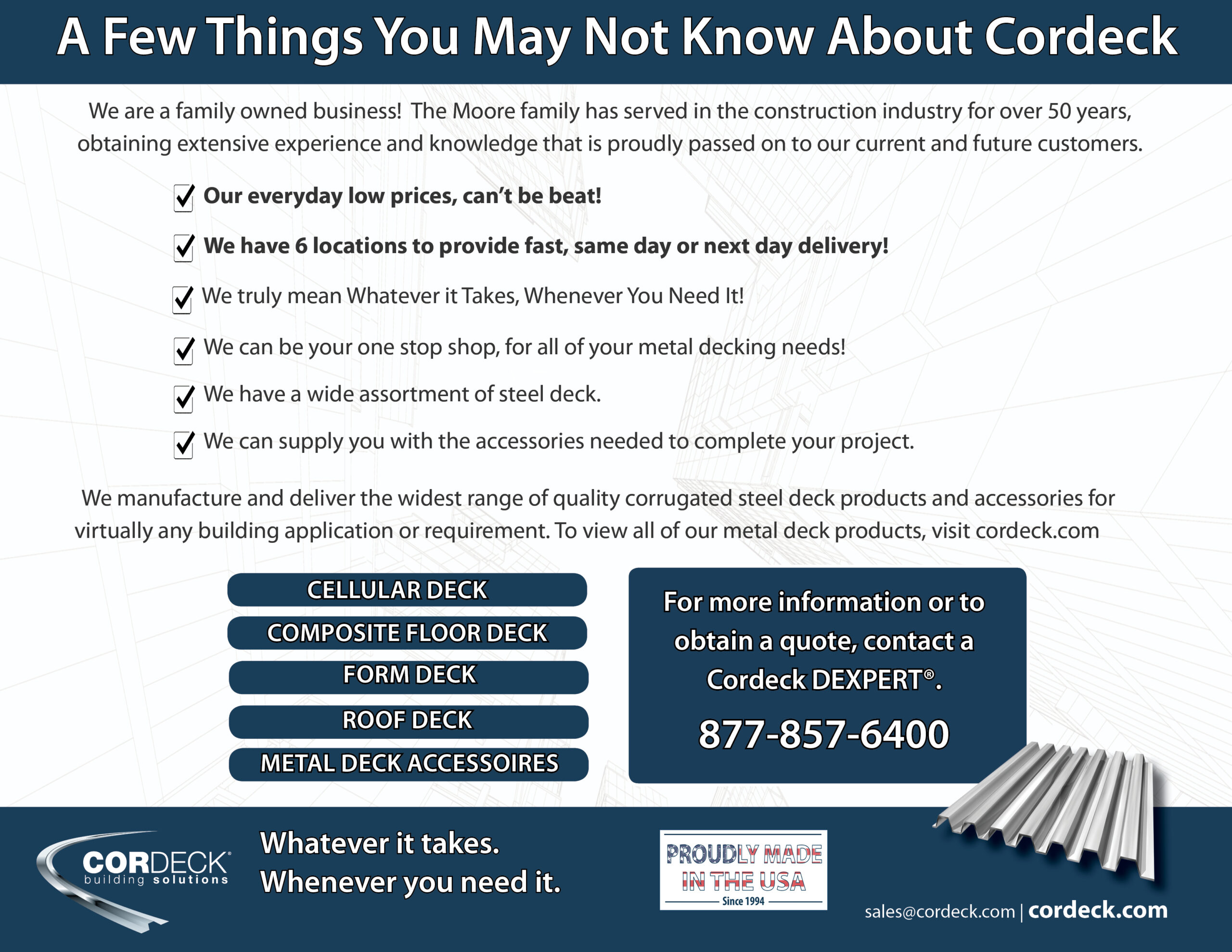 Cordeck Metal Deck Products